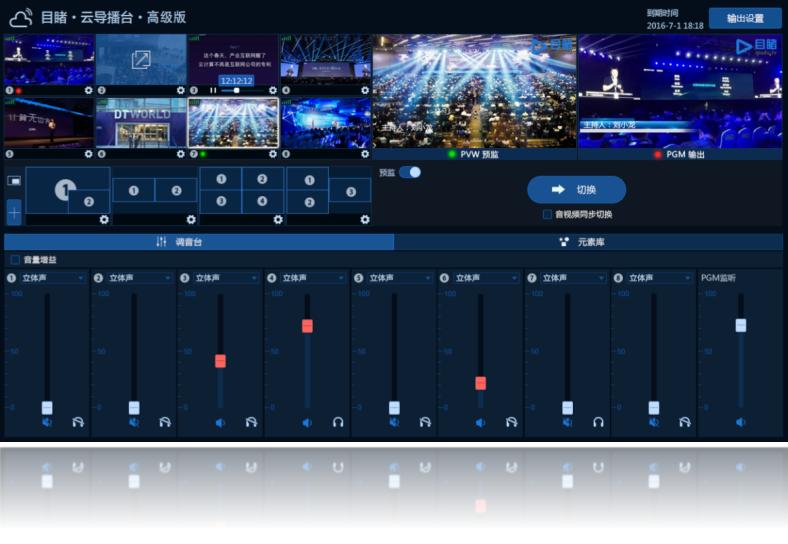 目睹·云导播台是国内领先的云端直播应用,无需下载,即开即用,操作简单,功能强大,助您零门槛制作出媲美电视台的专业直播效果。最新上线的3.0版本,新增了8路1080p输入、预监切换、调音台等功能,进入控制中心,在应用中即能快速开启。